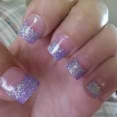 Ideas Wedding Nails Glitter Purple French Tips - French nail designs Fancy Nails, Cute Nails, Pretty Nails, Nail Tip Designs, Acrylic Nail Designs, Nails Design, Art Designs, Acrylic Nail Tips, Gel Nail Art