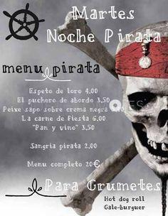 Menú Martes noche Pirata Carnavales 2015   Restaurante tapería cafetería El Cafetín en Pontevedra