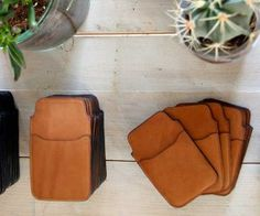 Genuine leather phone sleeves for Iphone and Samsung Galaxy, have a smart pocket to store money and credit cards, now available on CrowdyHouse #leather #gift