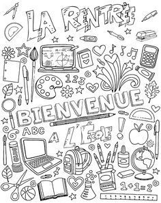 welcome to school - Back To School Teaching French, French Classroom, School Classroom, French Flashcards, French Worksheets, Welcome To School, First Day Of School Activities, French Education, Sketches