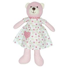 The cute strickteddy Greengate makes the heart of real fans beat faster. With the little dress in the design Lily, he has dressed up on Sundays fine. Size: about 38 cm, material: polyester. Bern, Little Dresses, Dress Up, Lily, Teddy Bear, Cute, Animals, Material, Design