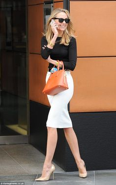Retail therapy: Kimberley Garner is seen shopping in Harrods and round London's Knightsbridge Work outfit Casual Work Outfits, Mode Outfits, Office Outfits, Work Attire, Work Casual, Outfit Work, Office Attire, Skirt Outfits, Casual Office