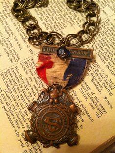 Antique Civil War 1888 Medal Necklace by RuffledRobinBoutique