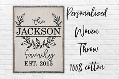 Personalized Family Last Name Cotton Woven Throw Blanket Custom Family Monogram Wreath Blanket Family Established Date Anniversary Blanket Graduation Shirts For Family, Wedding Wreaths, Monogram Wreath, Yarn Colors, Sister Gifts, Family Gifts, Anniversary Gifts, Blanket Design, Newlyweds