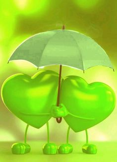 Two green hearts in friendship sharing an umbrella