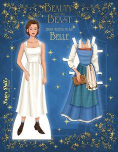 Emma Watson as Belle paper doll