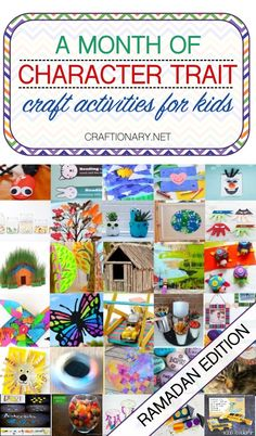 A month of ramadan kids activities based on character trait craft activities to teach positive behavior using play based projects. Eid Crafts, Ramadan Crafts, Tree Crafts, Fun Math Games, Craft Activities For Kids, Crafts For Kids, Uno Cards, Thankful Tree, Bookmarks Kids