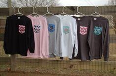 Long Sleeved Monogrammed Fabric Pocket T Shirt/Tee Monogrammed Pocket Tshirt