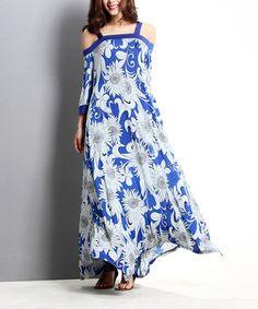 $29.99 Look at this #zulilyfind! Blue Sunflower Off-Shoulder Maxi Dress #zulilyfinds