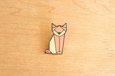 Cat origami pin