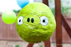 How to make a Pig Pinata!  I'm going to fill mine with plastic eggs filled with little toys and candy.  And I'm going to wrap the baseball bat with red tape and paint a face on it like the red angry bird!