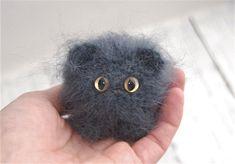 Miniature cat Fluffy kitten Knitted toy Crochet cat Grey cat Amigurumi cat Small kitty Tiny cat Cute cat Toy funny animal