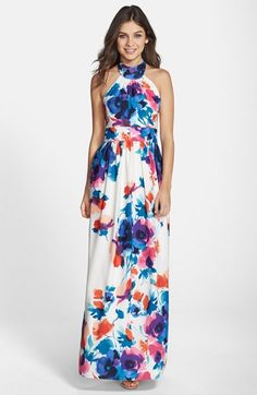 rehearsal dinner? Eliza J Floral Print Halter Maxi Dress available at #Nordstrom