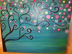 Large abstract tree acrylic painting