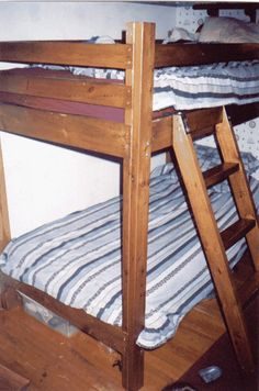 Free bunkbed plans at http://shoppingmatchmaker.com/bunkbeds.html The beds pictured here are over 12 years old and still holding up fine!