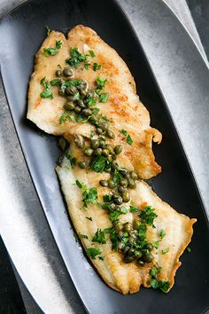 Delicate petrale sole, floured and fried and served with a piccata sauce of lemon, capers, parsley, white wine, and butter. On SimplyRecipes.com