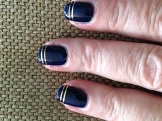 My latest DIY manicure with Butter London Royal Navy and gold strips