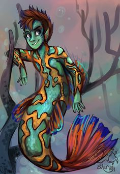 It took so many blasted layers to make this. XD He's based on the mandarin fish. :) by sharpie91