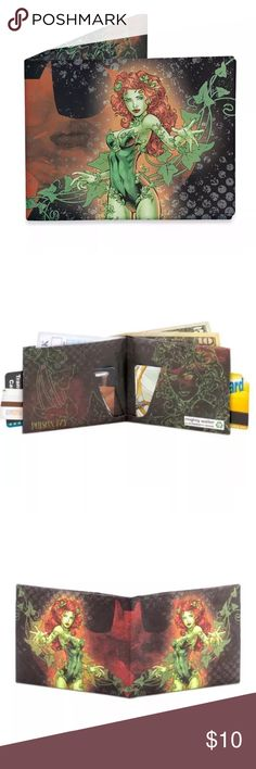 """❗️ 1 DAY SALE❗️DC COMICS POISON IVY MIGHTY WALLET DY-801 UPC: 815627013636 + 2 large pockets for cash and receipts.  + 2 credit card pockets that expand to hold lots of cards.  + 2 quick access business card pockets.  + 4 writable business cards included.+ open - 8"""" w x 3.25"""" h x .125"""" d  + 0.6 oz   Brand new in package   PLEASE SEE MY OTHER MIGHTY WALLETS FOR OTHER GREAT DEALS Dynomighty Other"""