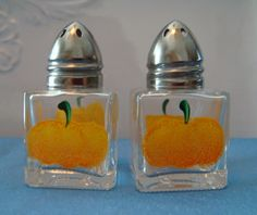 Hand Painted Pumpkin Mini Salt and Pepper Shakers by bunnyhutchdesigns, $7.50