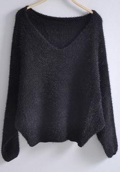 Black V Neck Batwing Long Sleeve Loose Sweater