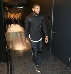 NBA Player Fashion: Kyrie Irving Wears A John Elliott + Co Rue Cotton Hoodie & Saint Laurent 'Skate' Sneakers- http://getmybuzzup.com/wp-content/uploads/2015/04/451215-thumb.jpg- http://getmybuzzup.com/nba-fashion-kyrie-irving/- By Don Bleek NBA basketball player Kyrie Irving of the Cleveland Cavilers was photo'd arriving to TD Garden for the Celtics vs. Cavs game. The NBA superstar dressed in a $228 John Elliott + Co Rue Cotton Hoodie which was layered over a w