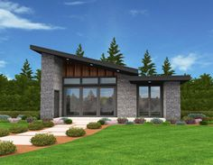 This sleek modern shed roof house plan offers huge living in under 650 square feet. Mercury has all of the curb appeal of a much large modern home in a compact package. Small Modern House Plans, Modern Shed, Small House Plans, Midcentury Modern House Plans, D House, House Roof, Story House, Tiny House Design, Modern House Design