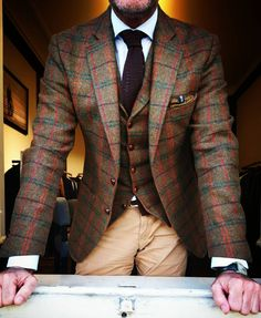 Searching For The Refined Checkered Suit, Preppy Guys, Well Dressed Men, Sharp Dressed Man, Tweed Jacket, Tweed Men, Tweed Pants, Suit Jacket, Fashion Hats