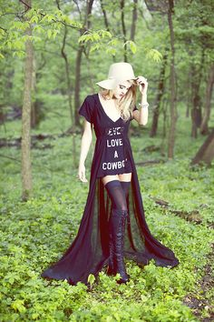 Brown Floppy Hat, Wildfox Couture Soft Baby Tee, Unif Black Cape, Jeffrey Campbell Black Lace Up Riding Boots