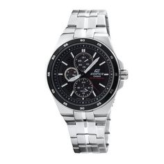 Casio Men's EF340SB-1A1 Edifice Stainless Steel Solar Power Chronograph Sport Watch Casio. $99.95. Stainless steel bracelet with foldover push button safety clasp. White luminous hour hands; Red tip second hand; Day and date and 24 hour sub-dials. Water-resistant to 330 feet (100 M). Self charging solar power watch with a black dial. Arabic numerals printed on bezel in increments of 5. Save 33% Off!