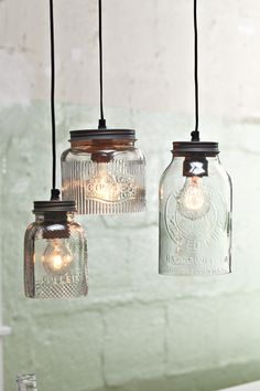 Marmeladengläser als Lampe / mason jar lamp #impressionen #moebel #licht