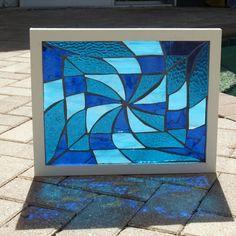 Blue Water Pinwheel Vortex Stained Glass Mosaic Frameables Repurpose Frame Mosaic Glass, Glass Art, Mosaic Windows, Smart Glass, Blue Stain, Stained Glass Patterns, Glass Garden, Pinwheels, Light In The Dark
