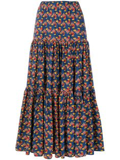 La Doublej patterned skirt - Blue Multicoloured cotton patterned skirt from La Doublej featuring an elasticated waistband, a tiered design and an all-over print. African Maxi Dresses, Latest African Fashion Dresses, African Dresses For Women, African Print Fashion, African Attire, Modern African Dresses, African Print Dress Designs, African Print Skirt, African Traditional Dresses