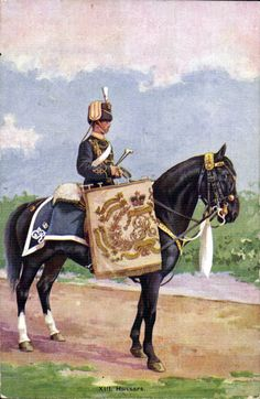 Hussars, Kettledrummer- a Gale-Polden postcard Military Art, Military History, Military Uniforms, British Army Uniform, British Uniforms, Horse Feed, Napoleonic Wars, Horse Art, World War I
