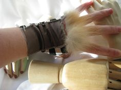Vixen - Tatterpunk Gloves Steampunk Arm Warmer in tattered silk, fox fur, and stripes size medium Steampunk Gloves, Leather Pieces, Band Merch, Dieselpunk, Vixen, Fox Fur, Playing Dress Up, Costume Design, Arm Warmers