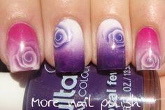 More Nail Polish: Gradients with rose pattern water decals