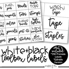 Give your teacher toolbox or supply bins a makeover with these cute white and black labels! Either print on white paper for a simple look, or jazz it up by printing on bright paper! EDITABLE VERSION INCLUDED! This product comes with 100 small labels, 150 large labels, and an editable PowerPoint for you to create your own!