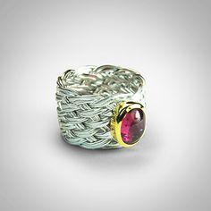 German Kabirski - Ring (Silver 925, Pink tourmaline, White rhodium and gold plating)