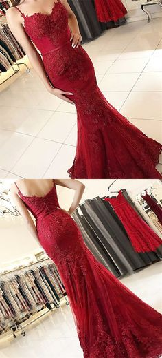 unique burgundy spaghetti straps mermaid prom dresses, elegant low back evening gowns with applioques, modest sweep train party dresses #promdress #dressywomen