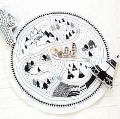 Laat spelen vloer Mat / Rug Hand gedrukt van BabeeandMe op Etsy
