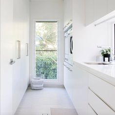 Laundry with wall of storage/linen cupboard. Provision for brooms, mops, vacuum. Laundry with wal Laundry Decor, Laundry Room Organization, Laundry Room Design, Laundry In Bathroom, Modern Laundry Rooms, Modern Room, Laundry Room Inspiration, Small Laundry, Küchen Design