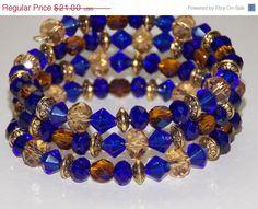 25%OFF SALE Cobalt Blue Honey Wrap Bracelet by EriniJewel on Etsy