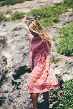 Modest coral-and-white-striped swing dress by Dainty Jewell's Modest Apparel. Modest fashion, bridesmaids dresses, ruffles, lace. www.daintyjewells.com. Photo courtesy of collaboration with Hawaii Brand Photography, Kelsie Carlson
