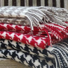 Heavy houndstooth wool throws