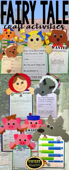 Fairy Tales: Goldilocks and the Three Bears, Little Red Riding Hood, The Three Little Pigs and the Big Bad Wolf craft activities - fun way to enhance fractured fairy tales and look great on a bulletin board! Fairy Tale Activities, Rhyming Activities, Writing Activities, Craft Activities, 3 Little Pigs Activities, Fairy Tale Crafts, Fairy Tale Theme, Pig Crafts, Book Crafts