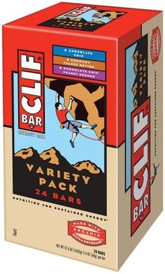 Clif Bar Energy Bar, Variety Pack of Chocolate Chip, Crunchy Peanut Butter, and Chocolate Chip Peanut Crunch, 2.4-Ounce Bars, Pack of 24 by Clif Bar. $25.50. 8 Crunchy peanut butter; 8 chocolate chip peanut butter; 8 oatmeal raisin walnut (now contains 8 chocolate chip instead of 8 oatmeal raisin walnut). Made with organic oats and soybeans. High in protein; no trans fats; 23 vitamins & minerals. Nutrition for sustained energy. Clif Bar supports organizations that a...