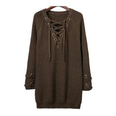 SheIn(sheinside) Army Green Eyelet Lace Up V Neck Knit Dress ($30) ❤ liked on Polyvore featuring dresses, long sleeve sweater dress, v neck sweater dress, short-sleeve shift dresses, sweater dresses and knit sweater dress