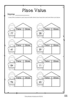 Place Values Tens and Ones Fall Math Free Worksheet