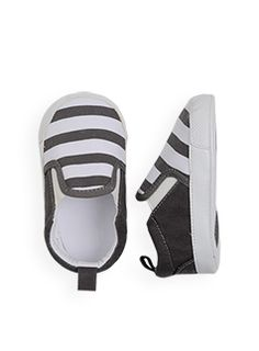 Charcoal and White Stripe Slip-On Shoes *No Longer Available*  from Charlie & Me Clothing Company. --- baby. newborn. shoes. clothing. affordable. cute. nautical. preppy. easy. style. fashion. feet. summer. spring.