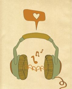 "Items similar to Music Art Print, Digital Print Wall Decor, ""MUSIC"" Giclee Print Artwork, Music Love Giclee Print, Retro Music Headphones Giclee Print on Etsy Hand Illustration, Illustrations, Poster S, Poster Prints, Artwork Prints, Wall Prints, Pub Radio, Retro, Artists"